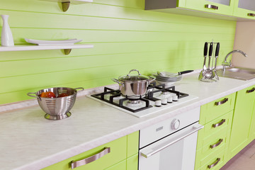 Modern kitchen interior with green decoration