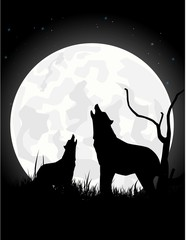 silhouette of wolf with giant moon background