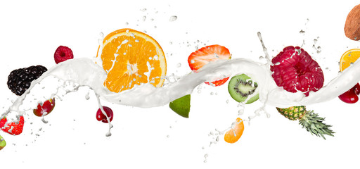 Wall Mural - Fruit mix in milk splash, isolated on white background