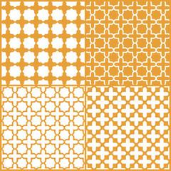 Moroccan lattice seamless pattern set, vector