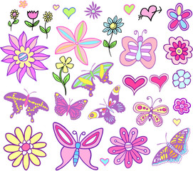 Spring Fairytale Flowers and Butterflies set