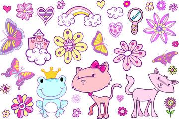 Cute Fairytale Spring Vector Set