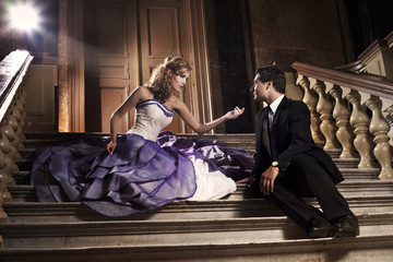 Beauty romantic young couple in misterious mansion