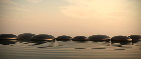Wall Mural - Zen stones in water on sunrise