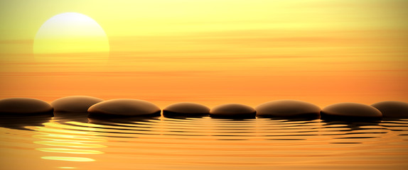 Fototapete - Zen stones in water on sunset