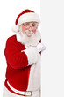 father Christmas holding blank sing