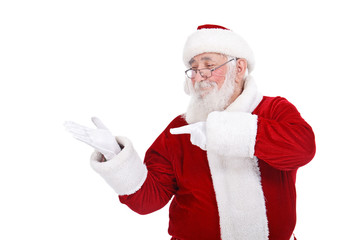 Santa pointing in hand