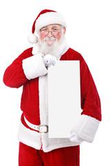 Santa holding banner