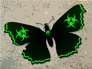 Butterfly with a biohazard symbol.