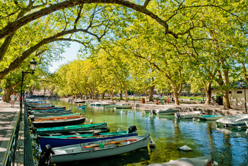 Annecy, boats and channel from lovers' bridge