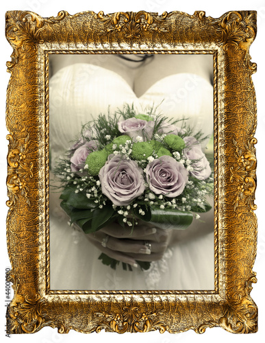 Gold Frame And Wedding Bouquet Stock Photo And Royalty Free Images