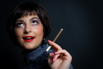 Beautiful woman with cigarette