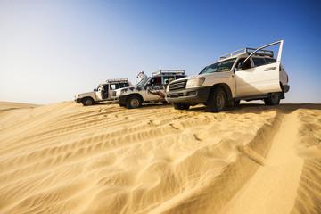 4x4 vehicles on a dune in the Sahara Desert, Tunisia