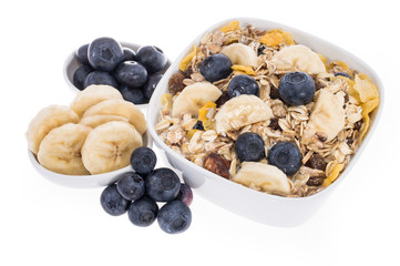 Mixed Muesli with Blueberries and Bananas