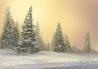 Frosty day. Winter forest. (Author's illustration.)
