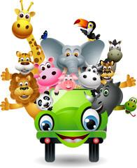 funny animal cartoon set in green car