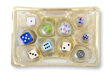 Dice set in the chocolate box