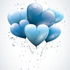 Blue heart shaped birthday balloons