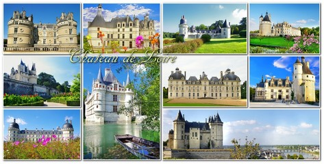 Castles of Loire valley - collage