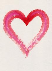 Mit Wasserfarbe gemaltes rotes Herz