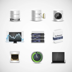 database and server vector icon set