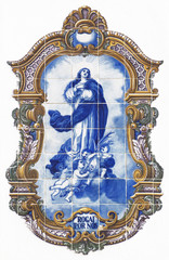 vintage tiles with angels and Holy Mary