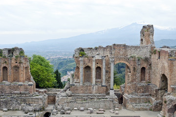 The Ancient theatre of Taormina in Sicily, Italy.