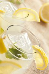 Fresh Organic Lemonade with mint leaves