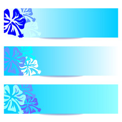 Tuinposter Abstract bloemen FLORAL BANNERS new blue