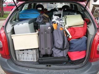 Holiday luggage in a car