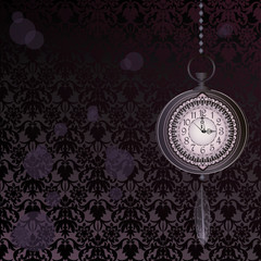Abstract dark velvet wallpaper with pocket watches