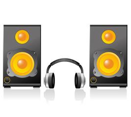 Music speaker. Eps10 vector.