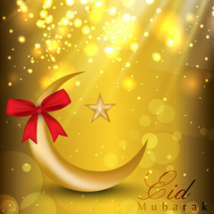 Eid Mubarak background with golden moon, star and red ribbon. EP