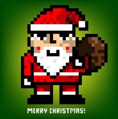 Fotobehang Pixel pixel santa