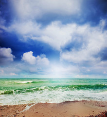 Summer beach and seascape.
