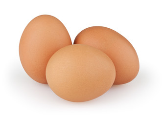 Three eggs isolated on white background with clipping path