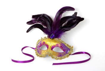 Purple and Gold Venetian Mask on White with Soft Shadow