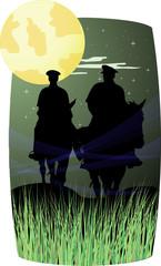 Horsemen on horses under the full moon