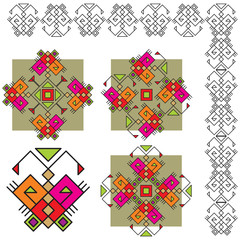 set ethnic ornaments with butterfly
