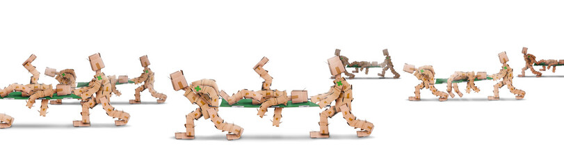 Box men characters carrying bodies on stretchers
