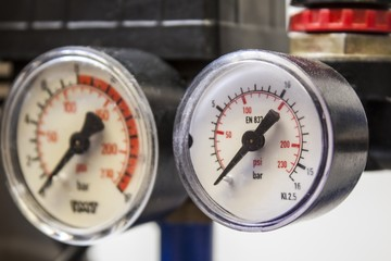 barometer in blue air compressors,white background