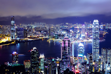 Keuken foto achterwand Hong-Kong Hong Kong cityscape at night