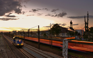 Gdansk train transportation - evening landscape