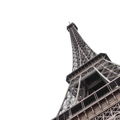 Photo sur Aluminium Sur le plafond Eiffel Tower from bottom isolated on white background