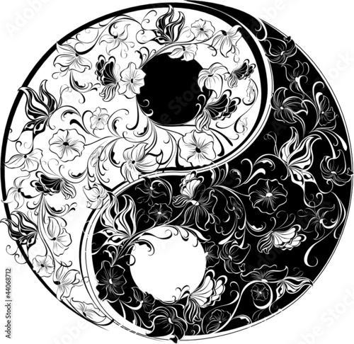 Floral Yin Yang Symbol Stockfotos und lizenzfreie Vektoren auf