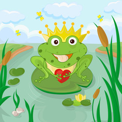 Funny frog with heart  vector eps 8