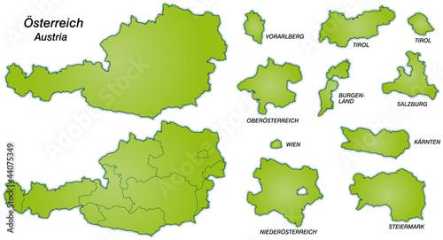 österreich Mit Kantonen In Grün Stock Image And Royalty Free Vector