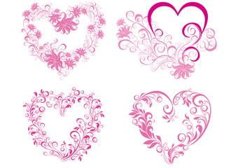 Set floral hearts