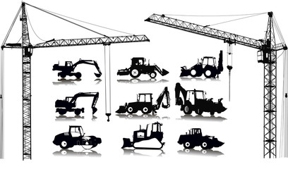 Set of 9 (nine) silhouettes of tractors and 2 (two) cranes