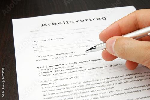 Arbeitsvertrag Vorlage Dokument Mit Kugelschreiber Stockfotos Und